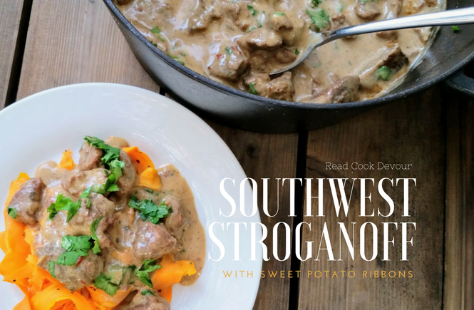 Southwest Stroganoff with Sweet Potato Ribbons | Gluten-free