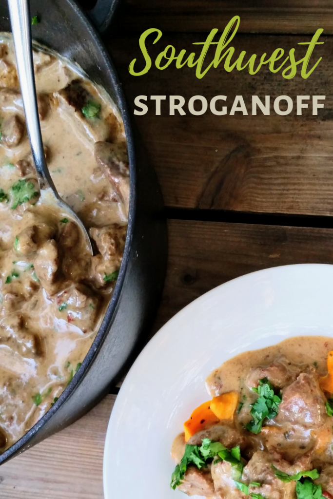 Southwest Stroganoff with Sweet Potato Ribbons |  | Mexican | Low Carb Dinner #flavorsofmexico #lowcarb #castironcooking #comfortfoodlightenedup